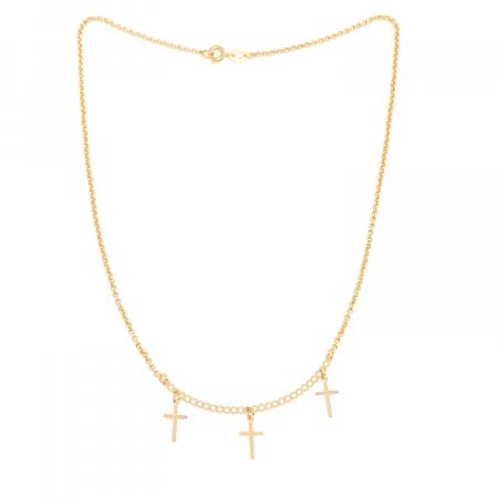 Colier cu 3 cruciulite placat cu aur Directrice [1]
