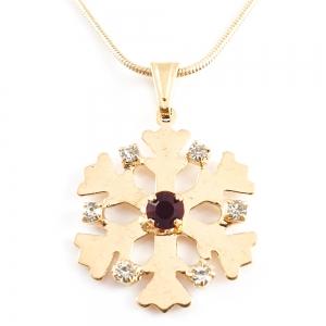 Colier placat cu aur Red Snowflake2