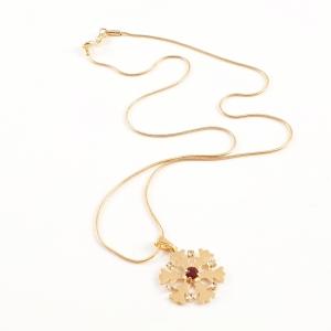 Colier placat cu aur Red Snowflake5