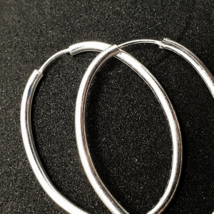 Creole ovale 3 cm Silver din argint1