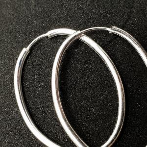 Creole ovale 5 cm din argint Silver0