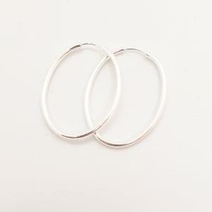 Creole ovale 3 cm Silver din argint2