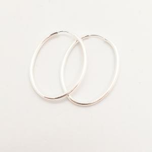 Creole ovale 5 cm din argint Silver2