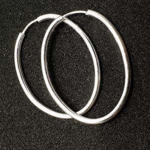 Creole ovale 3 cm Silver din argint0
