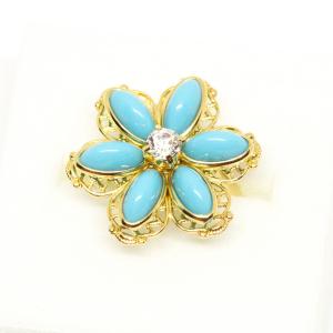 Inel cu floare mare pentru femei placat cu aur Brink0