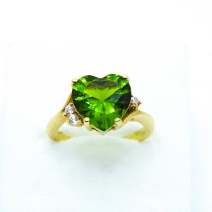 Inel cu piatra in forma de inima placat cu aur Exception2