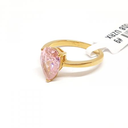 Inel cu piatra mare placat cu aur Brenda [3]