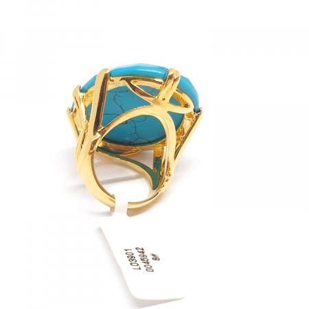 Inel cu piatra mare placat cu aur Turquoise Blue [3]