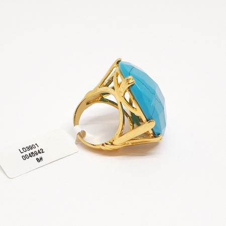 Inel cu piatra mare placat cu aur Turquoise Blue [2]