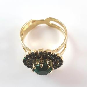 Inel placat cu aur Royal Green3