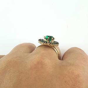 Inel placat cu aur Royal Green5