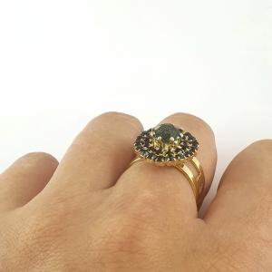 Inel placat cu aur Green Crown4