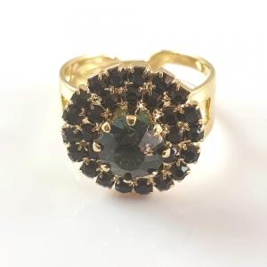 Inel placat cu aur Green Crown1