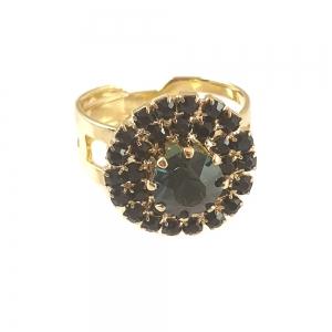 Inel placat cu aur Green Crown0