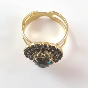 Inel placat cu aur Green Crown2