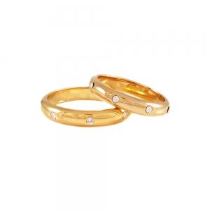 Inel  placat cu aur tip verigheta cu strasuri0