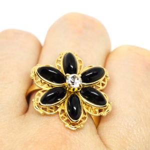 Inel cu floare mare pentru femei placat cu aur Strategy4