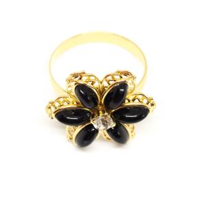 Inel cu floare mare pentru femei placat cu aur Strategy2