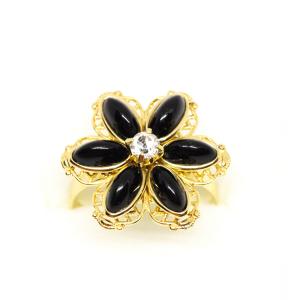 Inel cu floare mare pentru femei placat cu aur Strategy3