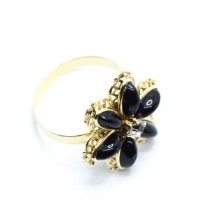 Inel cu floare mare pentru femei placat cu aur Strategy0