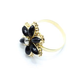 Inel cu floare mare pentru femei placat cu aur Strategy1