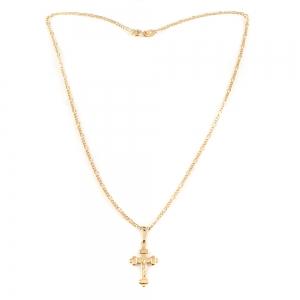 Lantisor si cruciulita placate cu aur Jesus1