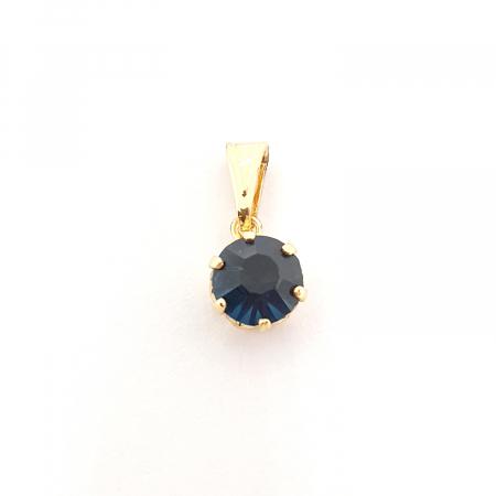 Pandantiv rotund negru placat cu aur Camma [0]