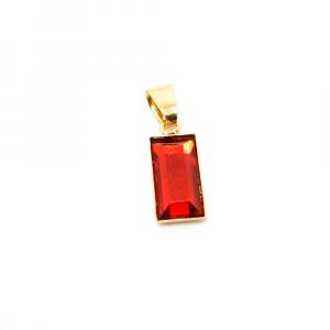 Pandantiv dreptunghiular rosu placat cu aur Tender0