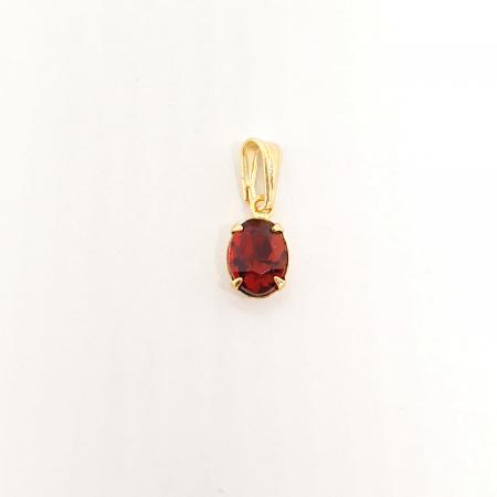 Pandantiv-oval rosu placat cu aur Siege [0]