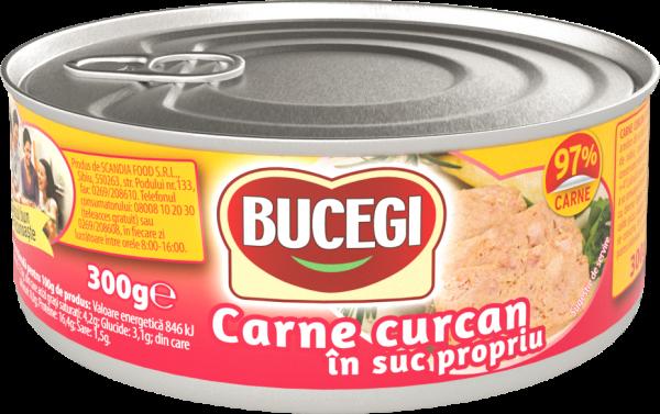 Bucegi Carne curcan in suc propriu 300g, 97% carne [0]