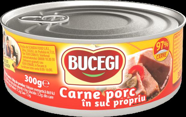 Bucegi Carne porc in suc propriu 300g, 97% carne [0]