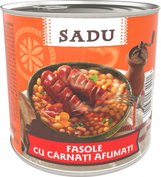 Sadu Fasole cu carnati afumati 800g [0]
