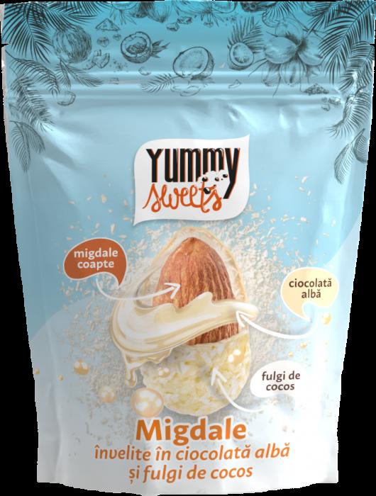 YUMMY SWEETS Migdale invelite in ciocolata alba & fulgi de cocos100g [0]