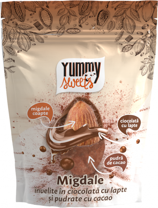 YUMMY SWEETS Migdale invelite in ciocolata cu lapte&cacao 100g [0]