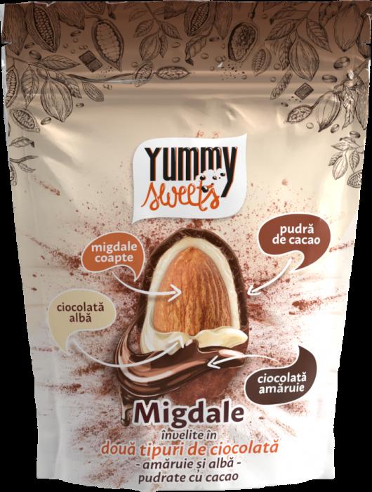 YUMMY SWEETS Migdale invelite in dublu strat de ciocolata & cacao 100g [0]