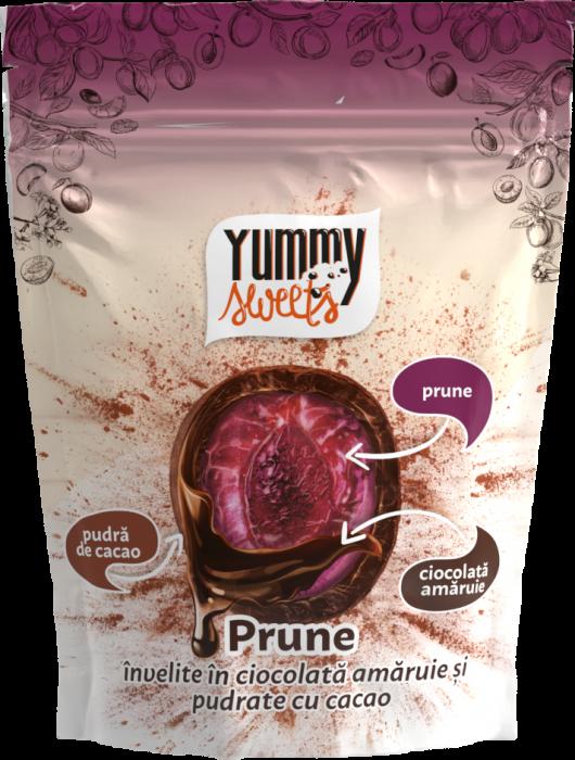 YUMMY SWEETS Prune invelite in ciocolata amaruie & cacao 100g [0]