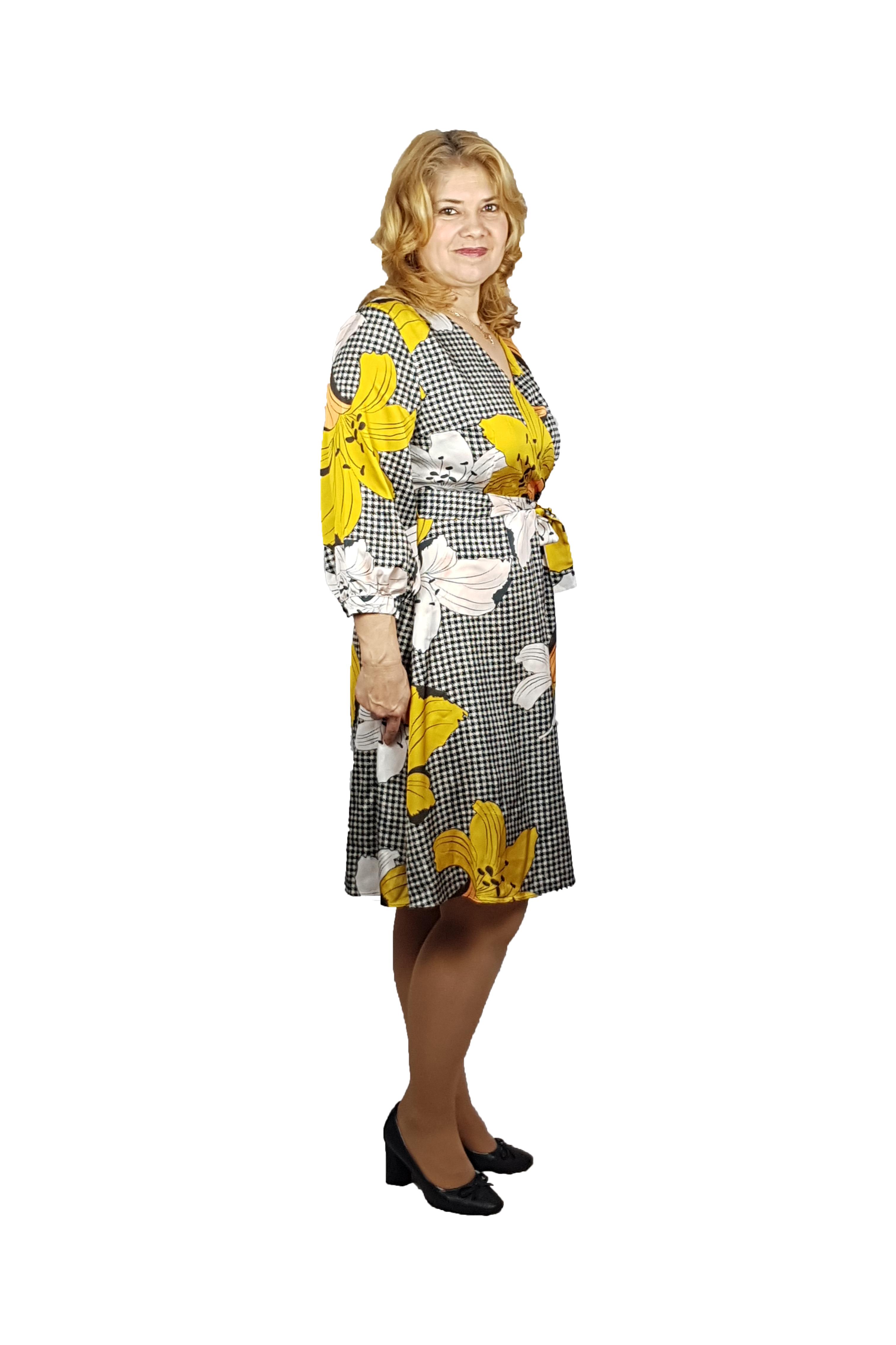 Rochie Sonia cu cordon in talie, imprimeu floral si maneca trei sferturi1