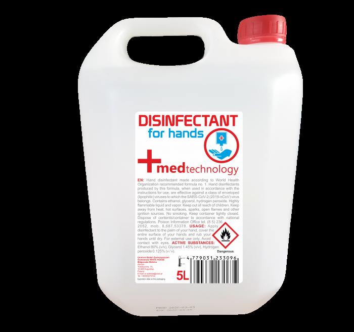 Dezinfectant Maini 5 l, solutie cu minim 80% alcool, 0.125% peroxid de hydrogen, 1.45% glicerina 0