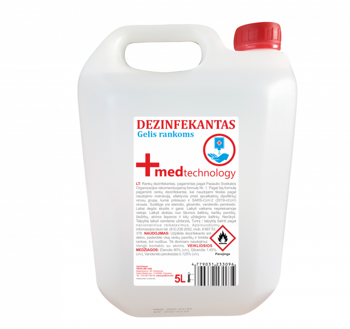 Dezinfectant Maini GEL 5L cu minim 80% alcool, 0.125% peroxid de hydrogen 0