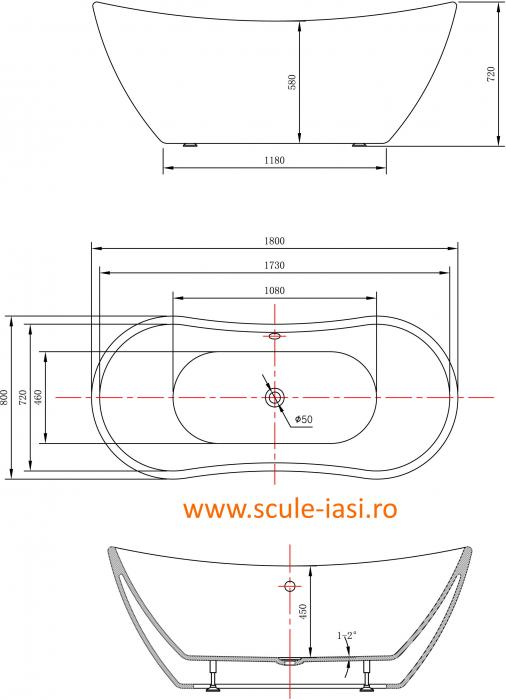 Cada de baie - tender curve 2