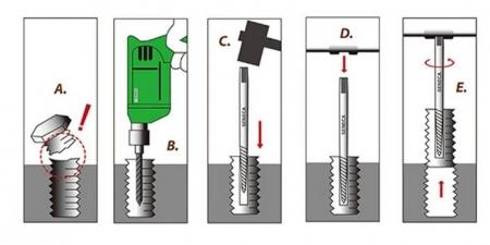 Set extractor suruburi rupte - 5 piese2