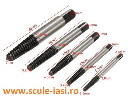 Set extractor suruburi rupte - 5 piese0