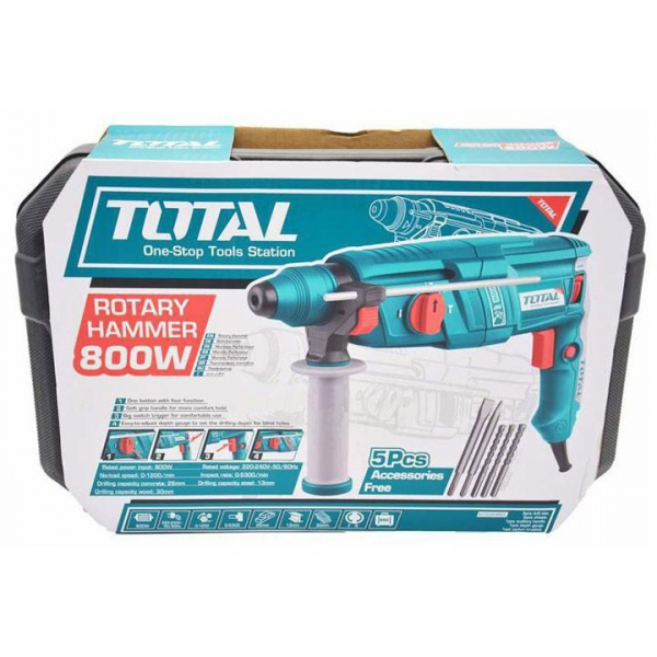 Ciocan Rotopercutor TOTAL, SDS plus, 800W, 2.5J 1