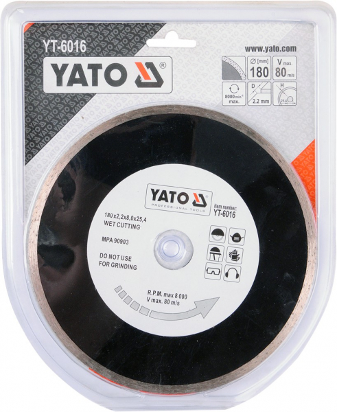 Disc diamantat YATO, continu, 180mm X 25.4mm, taiere umeda 1