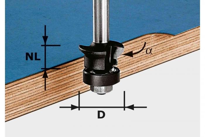 Festool Freză pentru faţetare şi frezare coplanară HW S8 D24/0° +45° 0