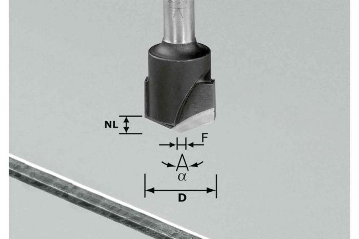Festool Freză de canelat in forma de V HW S8 D18-135°/Alu [1]