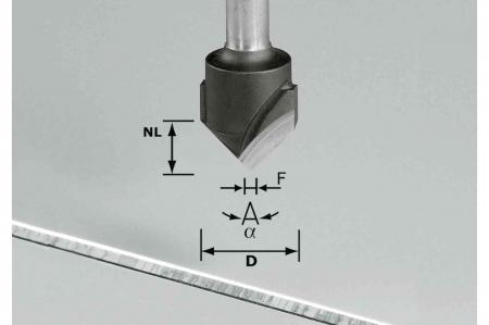 Festool Freză de canelat in forma de V HW S8 D18-90°/Alu [1]