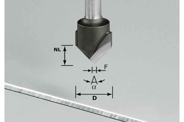Festool Freză de canelat in forma de V HW S8 D18-90°/Alu 1