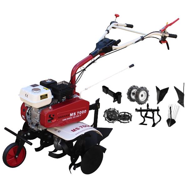 Motosapa Media Line MS 7000 7CP TOP cu plug de bilonat, roti cauciuc, roti metalice, plug simplu, prasitoare, extractor cartofi [0]
