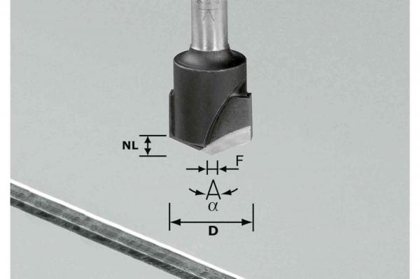 Festool Freză de canelat in forma de V HW S8 D18-135°/Alu 1
